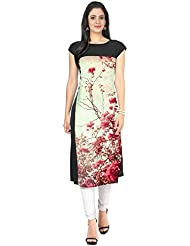 New Latest Black And Multi Color Digital Print Crepe Wedding Party Wear Kurti For Women