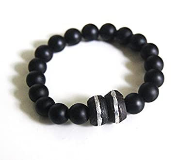 Men's Bracelet - Men's Jewelry - Men's black Onyx and African Ebony Wood Bead Bracelet- Beaded bracelet- Unisex bracelet- Stretch Bracelet