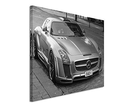 50x70cm Leinwandbild schwarz weiß in Topqualität Auto Mercedes-Benz