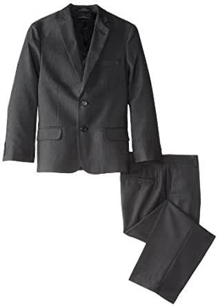 Calvin Klein Dress Up Big Boys' Speckled Stripe Vested Suit, Black, 8