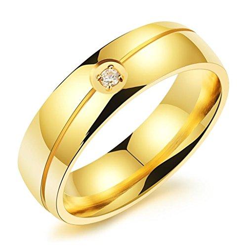 6 MM Titanium Steel Gold Men's ring Set CZ