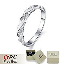 buy Women Wedding Bands Finger Rings White Gold Plated Crystal Ring Jewelry Engagement