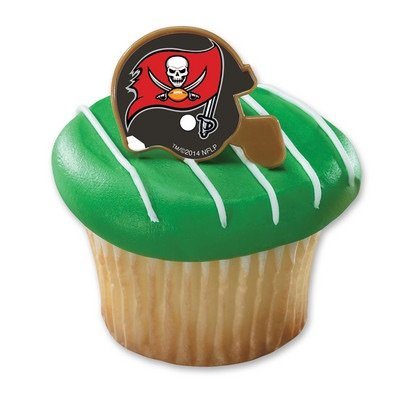 NFL Tampa Bay Buccaneers Football Helmet Cupcake Rings - 24 pcs
