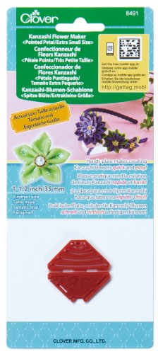 Clover 8491 Kanzashi Flower Maker Pointed Petal Quilt Pattern, X-Small