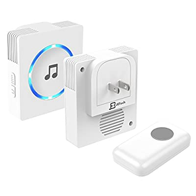 Chime, JETech Portable Wireless DoorBell Chime Plug-in Push Button