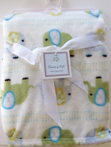 Ultra Soft Blue Green Elephant Baby Blanket 30 X 40 Elements of Style - 1