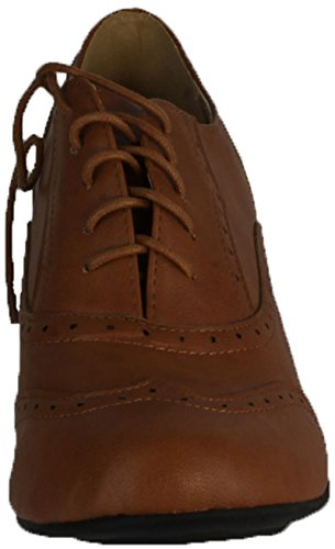 REFRESH AMANY-01 Women's Cuban heel Ankle booties Oxfords,Amany-01 Tan 8.5