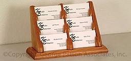 Fixture Displays Unit of 2 3-Tiered Business Card Holder for Tabletops, 6 Pockets, Wood - Medium Oak 19763 19763-2PK