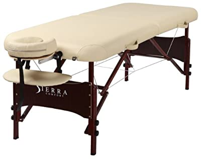 Sierra Comfort Preferred Portable Massage Table with Mahogany Finish, Cream