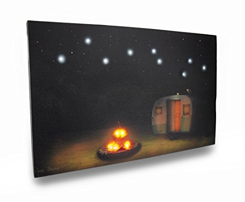 Under The Stars Led Lighted Camping Themed Canvas Print