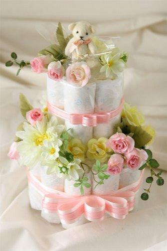 おむつケーキ 2段 ピンク (パンパースSサイズ使用)