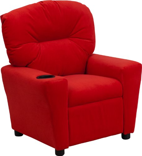 Contemporary Red Microfiber Kids Recliner with Cup Holder By Flash Furniture