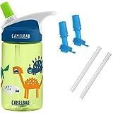 CamelBak Eddy Kids Water Bottle, Zany Dino, 0.4 L with Bottle Accessory 2 Bite Valves/2 Straws (Color: Zany Dino)
