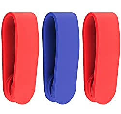 GF Pro Magnetic Silicone Band Durable Reusable Cable Tie / Smartphone Stand / Earbud Holder / Money Clip - Retail Packaging - Red Or Blue Assorted (3 Count)
