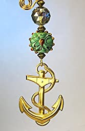 Large Brass Anchor Stamping with Artisan Lamp Work Moss Green Glass and Faceted Amber Green Glass Ceiling Fan Pull Chain