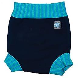 Splash About neoprene Happy Nappy (swim nappy), Navy with Blue Lagoon stripe rib, X Large (12-24 months)