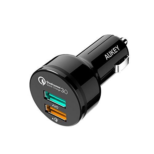 AUKEY Quick Charge 3.0 Caricatore per Auto con 2 Porte, 34,5W per LG, HTC, Nexux, iPhone ecc.