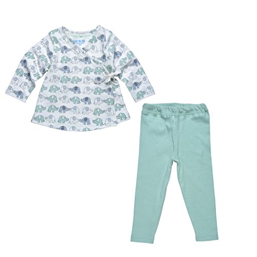 Under The Nile Apparel Baby-Girls Infant Wrap Top Elephant Print With Leggings, Green/Gray, 18 Months front-797182