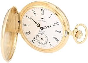 Catorex Men's 171.6.1634.110P Les Breuleux 18k Gold Plated Brass White Dial Pocket Watch