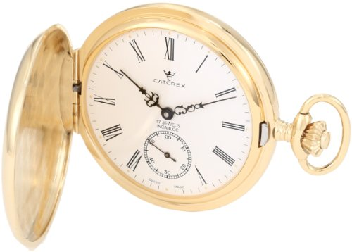 Catorex Men's 171.6.1634.110P Les Breuleux 18k Gold Plated Brass White Dial Pocket Watch