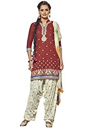 Kvsfab Maroon & White Pure Cotton embroiderd dress Material(patiala un-stitched_KVSSK7862PA_44)