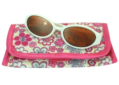 18 Inch Doll White Sunglasses & Case, 2 Pc. Set, Perfect for 18 Inch American Girl Dolls Clothes & More! by Sophia's, White Doll Glasses & Floral Print Eyeglass Case