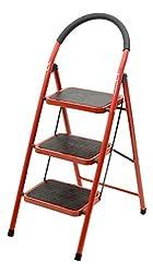 Haneez Ladder 3 Steps Folding, Good Quality, Wide Steps with Platform, Red & Black