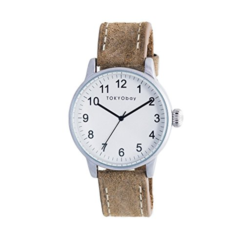 tokyobay-t626-br-mens-stainless-steel-brown-leather-band-white-dial-smart-watch