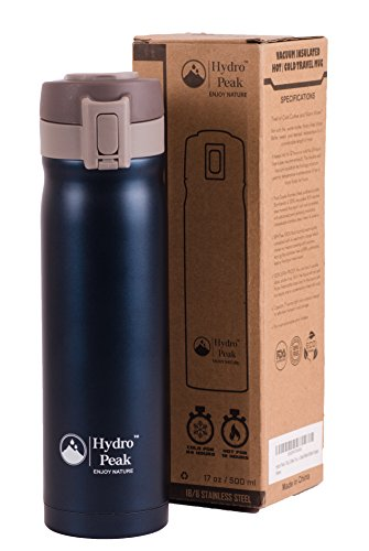 Hydro Peak 17oz Double Wall Vacuum Insulated High Quality 304 Stainless Steel Coffee Travel Mug, One Touch Lock Lid Thermos Water Bottle, Keeps Drinks Hot for 12 Hours and Cold for 24, Navy Blue (Thermal Travel Mug Coffee Cup 24 compare prices)