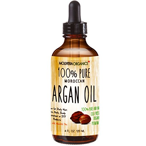 Molivera Organics Premium Argan Oil 4 Fl Oz. 100% Pure Moroccan Organic Triple Extra Virgin Cold Pressed Best for Hair, Skin, Face & Nails - Great for DIY - UV Resistant Bottle-Satisfaction Guarantee