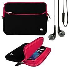 buy (Pink Trim) Vg Neoprene Sleeve Cover For Kobo Arc 7 Hd / 7 Tablet + Black Vangoddy Headphones