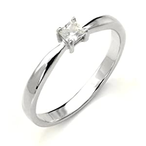 Sterling Silver Cubic Zirconia Solitaire 0.1 Carat tw Princess Cut CZ Engagement Ring, Nickel Free Sz 6