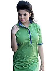 Aracruz Women's Cotton Kurti (Green Top1_Free Size_Green)