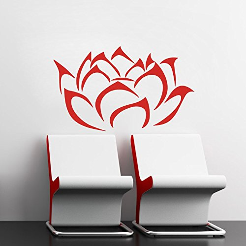 "Wandtattoos Wandbilder 17.7"" X 29.5"" Red Modern Lotus Blossom Flower Wall Decals entfernbaren Vinyl Wall Sticker Mural Art Wand"