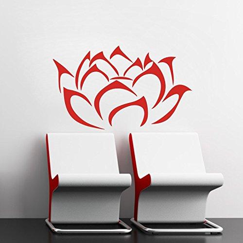 """Wandtattoos Wandbilder 17.7"""" X 29.5"""" Rot Modern Lotus -Blüten-Blume Wandtattoos entfernbaren Vinyl-Wandaufkleber Wandkunst- Wand"""