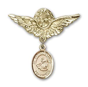 14K Gold Baby Badge with St. Thomas Aquinas Charm and Angel with Wings Badge Pin