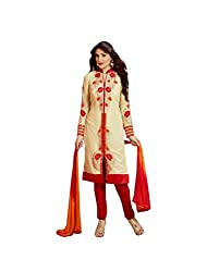 Amyra Women's Georgette Dress Material (AC795-06, Cream)