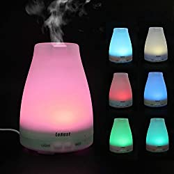 Lenest Aromatherapy Essential Oil Diffuser ultrasonic Portable Cool Mist Humidifier With 3 Kind Adjustable Mist Mode and 7 Color Changing LED Lamps-for Home office bedroom baby Room