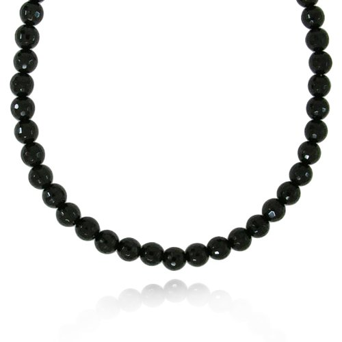 8mm Faceted Round Black Onyx Bead Necklace, 18+2