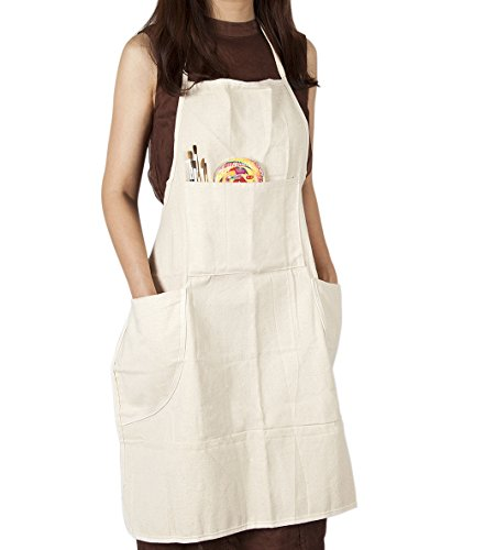 CONDA Cotton Canvas Professinal Bib Apron for Adult With 4 Pockets,Waterproof,Natural 31inch By 27inch Prime