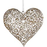 Shabby Chic Vintage Metal Silver Daisy Flower Heart Hanging Decoration By RJB Stone (Sass Belle)