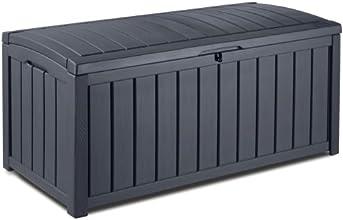 Keter 17198358 Kissenbox Glenwood, Holzoptik, Kunststoff, anthrazit, 390 Liter