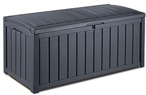 Keter 17198358 coffre à coussins glenwood box en plastique aspect bois anthracite 390l