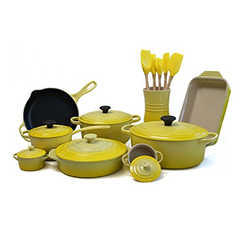 Le Creuset 20 Piece Soleil Yellow Enameled Cast Iron & Stoneware Cookware Set with 5.5 Quart French Oven (Le Creuset Utensil Crock Small compare prices)