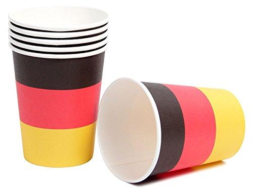 Set di 6 bicchieri di plastica nei colori della bandiera tedesca Germania (00/0561) nero rosso oro griglia barbecue compleanno festa calcio europei mondiali coppa