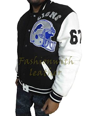 BEVERLY HILL COP DETROIT LIONS LETTERMAN JACKET WITH FLEECE SLEEVES by Pusher