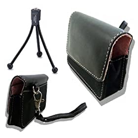 Stylish Accessory Clutch &#97;&#110;&#100; Mini Flexible Tripod &#102;&#111;&#114; Flip Mino / Mino HD / MinoHD 2nd Gen Video- Black &#97;&#110;&#100; Pink Pearl - Scratch-Resistant Plush Interior