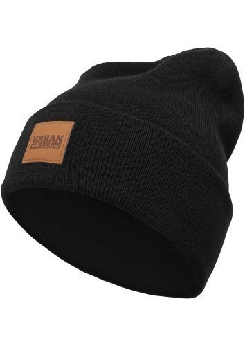 Urban Classics TB626 Leather Patch Long Beanie Hat One Size Colore Black