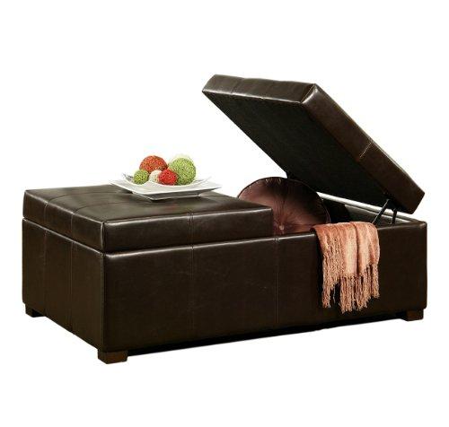 Abbyson Living Frankfurt Dark Brown Bicast Leather Double Flip-top Storage Ottoman
