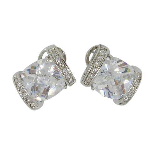 Stud Earrings w/White CZs